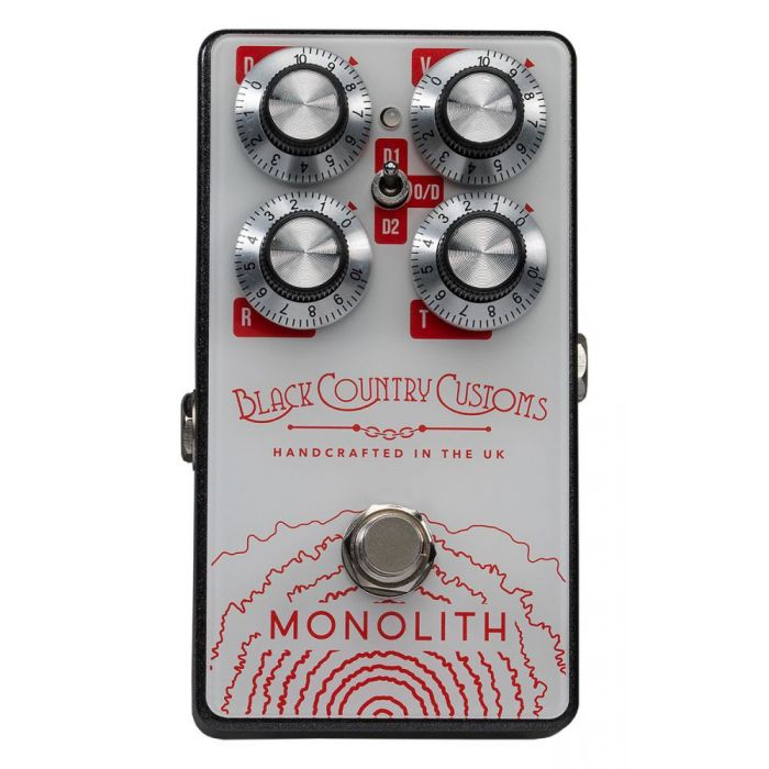 Top-down view of a Laney Black Country Customs Monolith Distortion Pedal