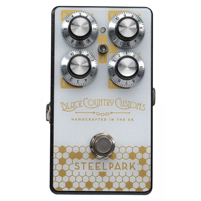 Top-down view of a Laney Black Country Customs Steelpark Boost Pedal
