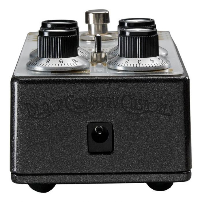 Closeup of the power supply input on a Laney Black Country Customs Steelpark Boost Pedal