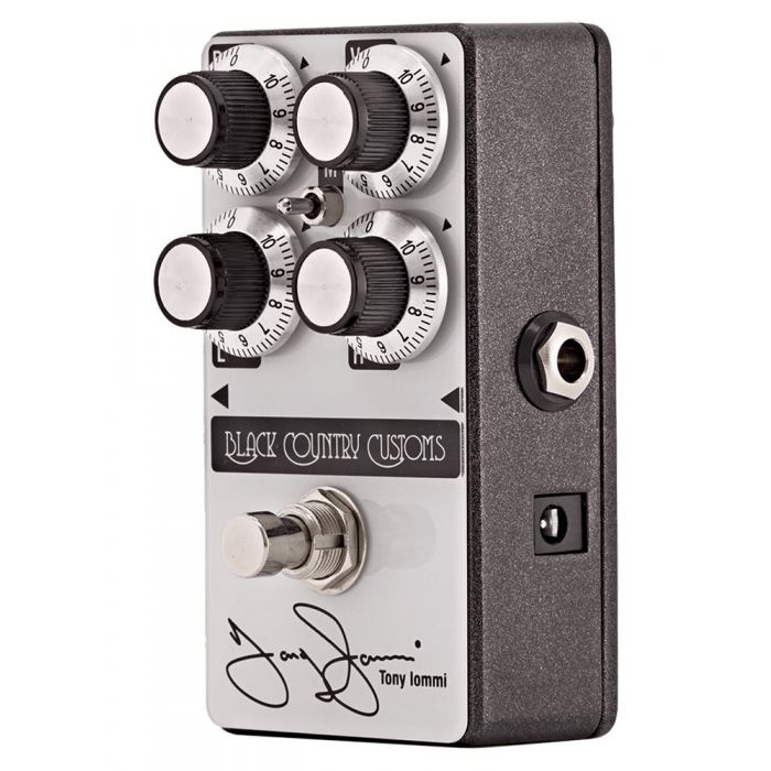 Front right-angled view of a Laney Black Country Customs Tony Iommi Boost Pedal