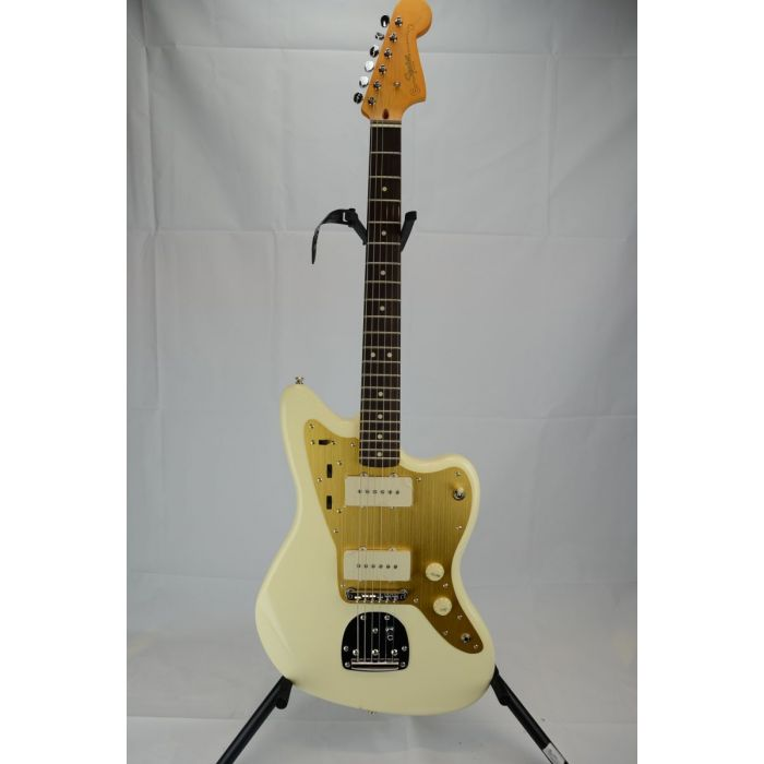 Full front view of a B Stock Squier J Mascis Jazzmaster, Vintage White