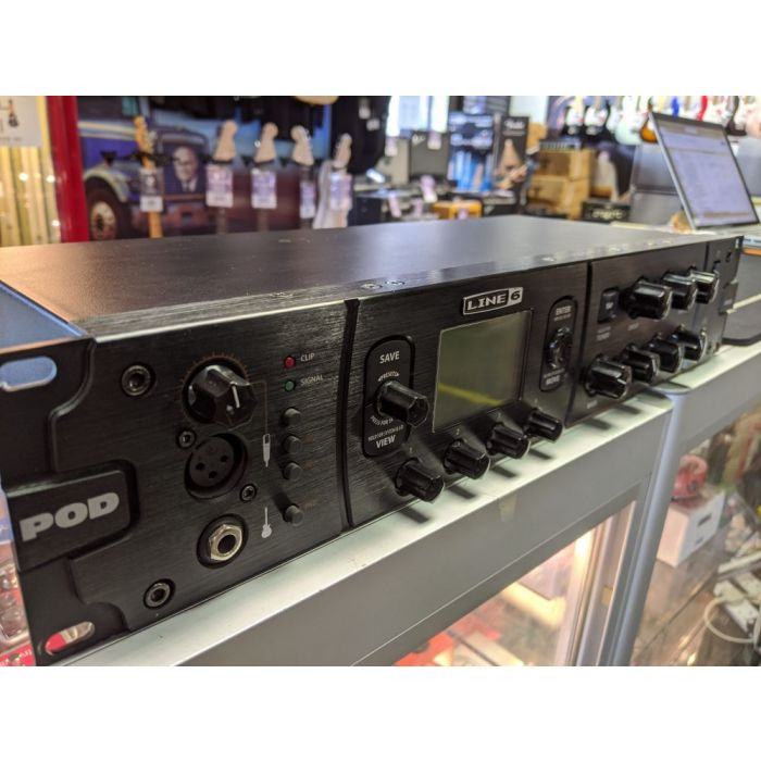 Closeup of the front panel on a Pre-Loved Line 6 Pod HD Pro Rack Mount