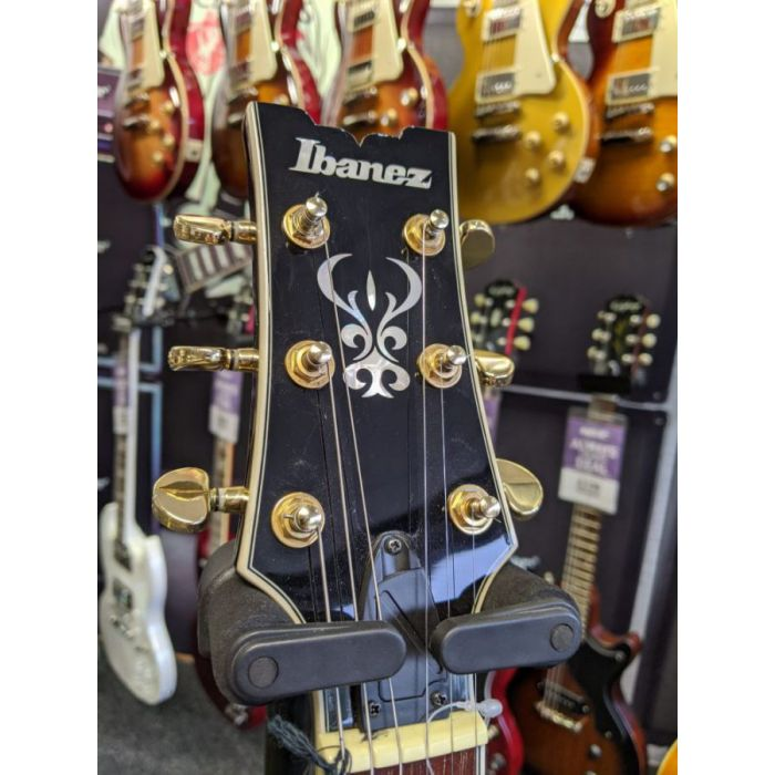 Front view of the headstock on a B Stock Ibanez AR Quilted Ash Guitar, Dark Brown Sunburst
