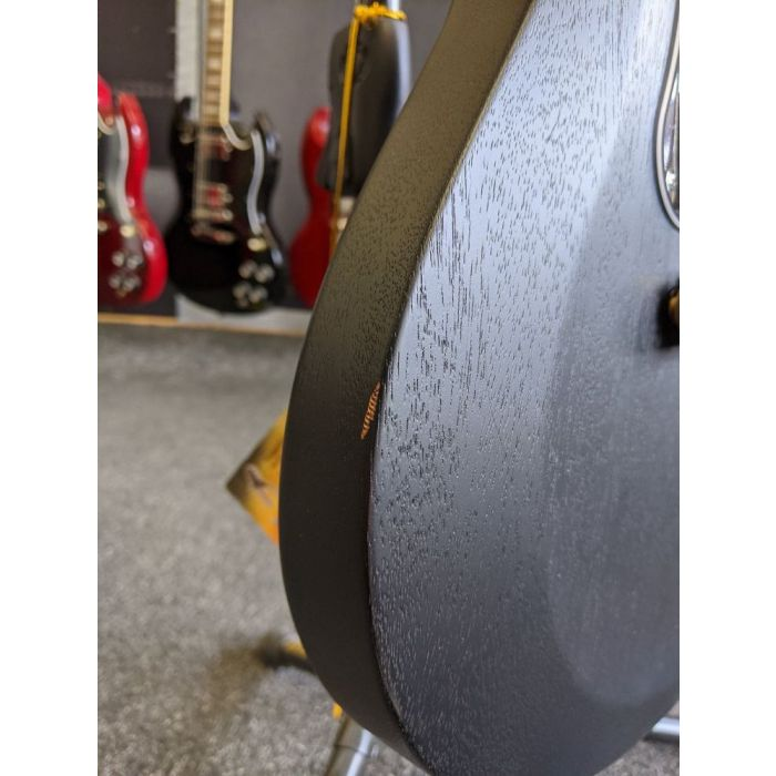 Detailed view of the damage on a B Stock PRS S2 Satin Singlecut Standard Guitar, Charcoal