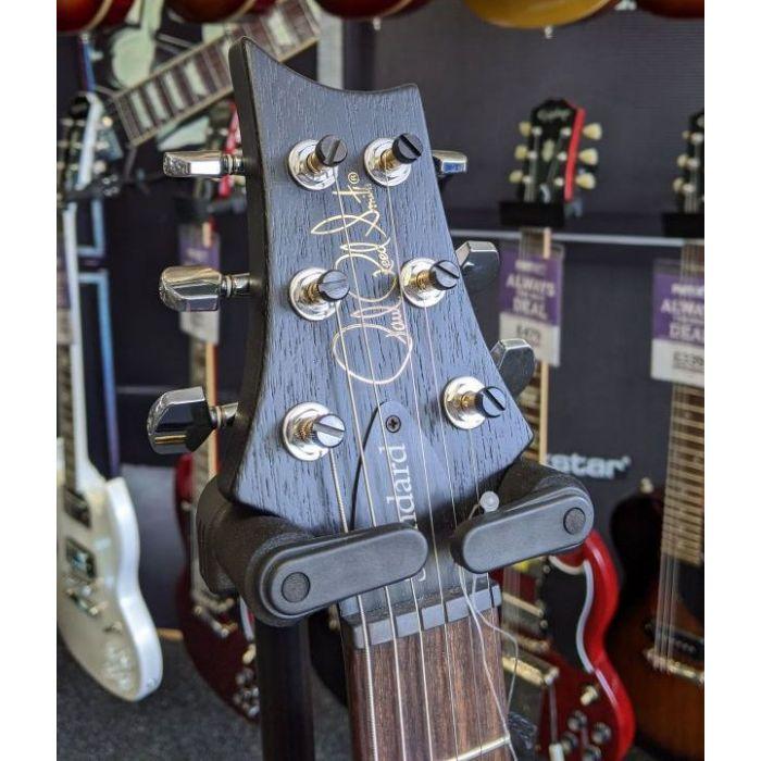 Closeup of the headstock on a B Stock PRS S2 Satin Singlecut Standard Guitar, Charcoal