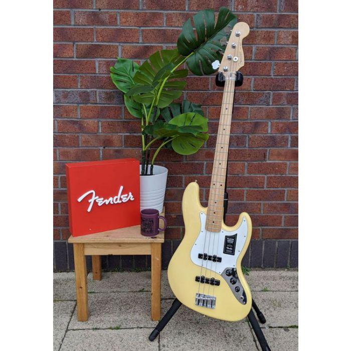 Full frontal view of a B-Stock Fender Player Jazz Bass MN Buttercream