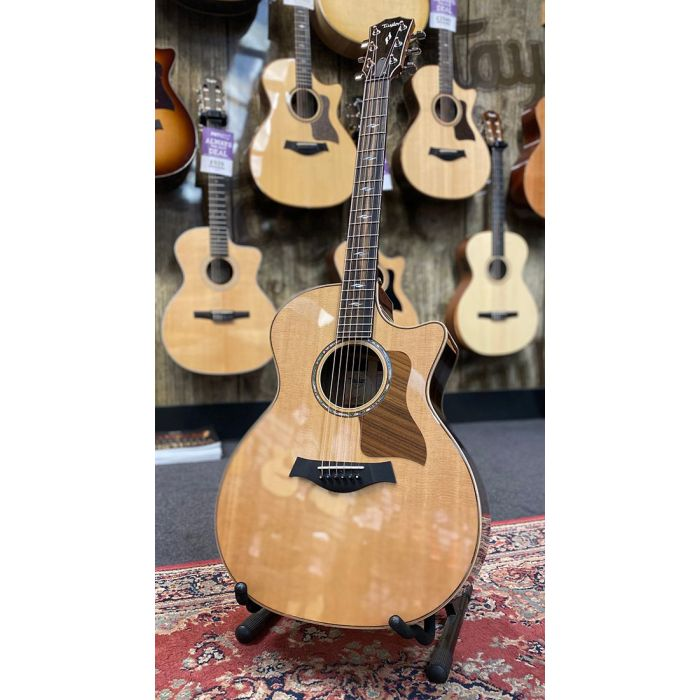 Full frontal view of a B Stock Taylor 814ce V-Class Electro Acoustic Guitar