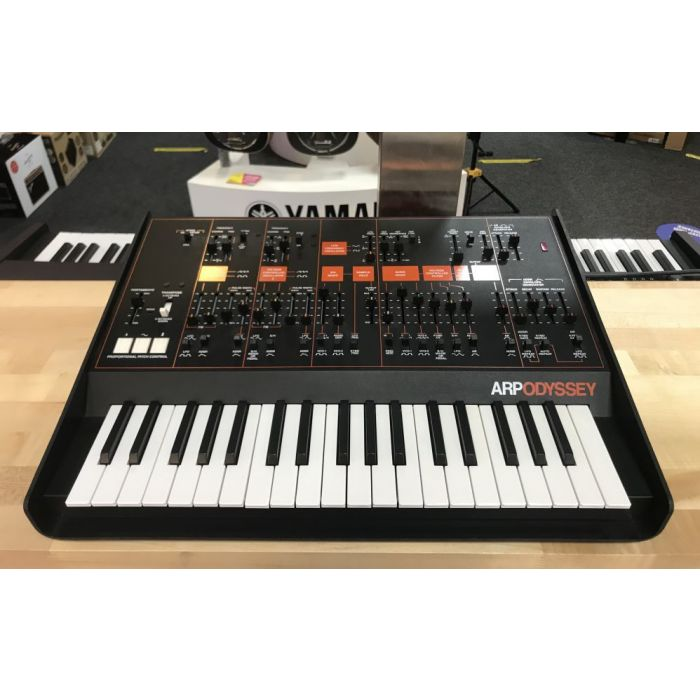 Front angled view of a B-Stock Korg ARP Odyssey Mini Analog Synth Black Orange