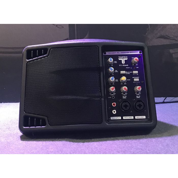 Full frontal view of a B Stock TOURTECH TT-PSM5 Portable Active PA Speaker