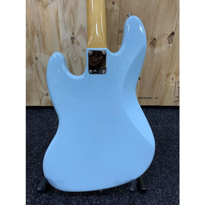 Rear view of the body on a B Stock Fender Vintera 60s Jazz Bass PF Daphne Blue
