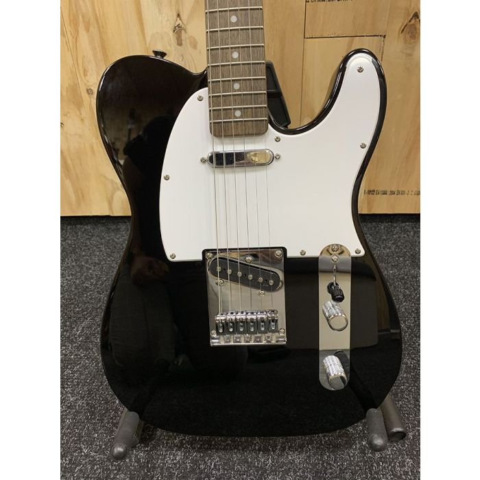 Closeup of the body on a B Stock Squier Bullet Telecaster IL Black Guitar