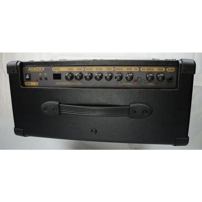 Top-down view of the controls on a Albion AG40DFX 40W Fx Hybrid 1x12 Combo