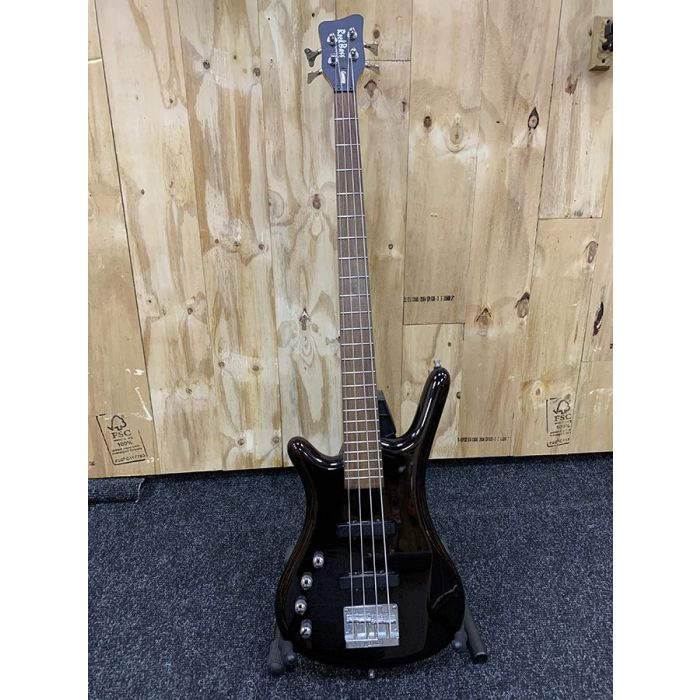 Full frontal view of a Pre-Loved Warwick Rockbass Corvette LH, Solid Black High Polish