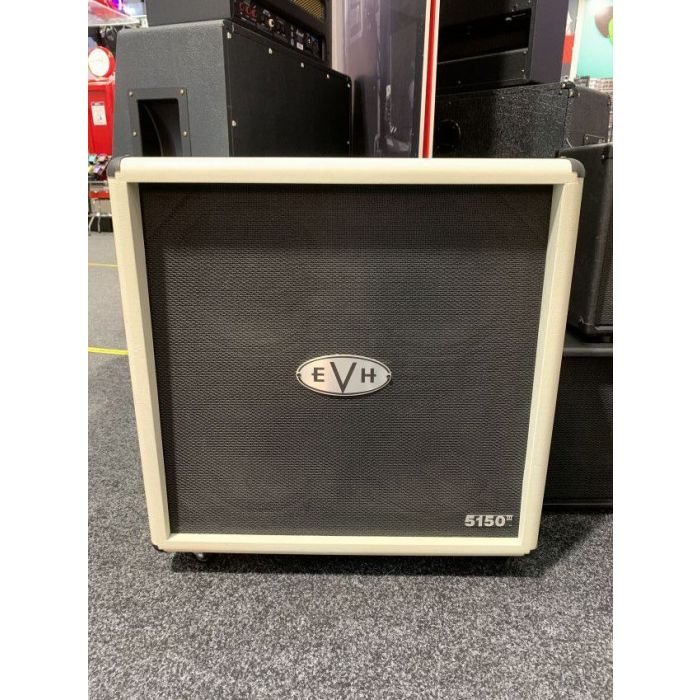 Full frontal view of a B Stock EVH 5150III 4x12 Straight Cabinet Ivory