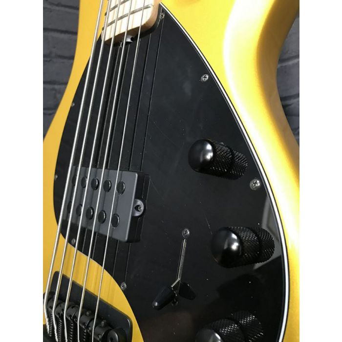 Front angled view of a B Stock MusicMan Stingray 5 MN Firemist Gold