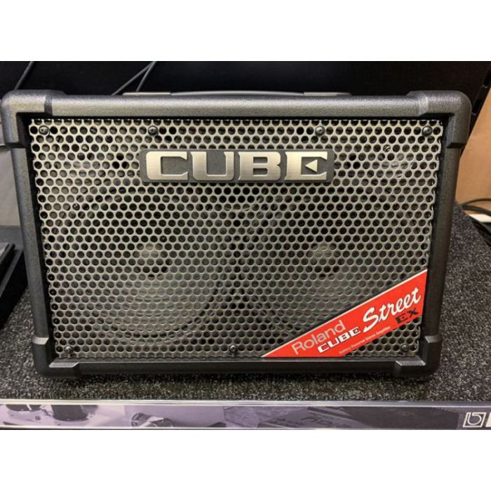 Front view of a tilted B-Stock Roland Cube-Street EX Battery-Powered Stereo Amplifier