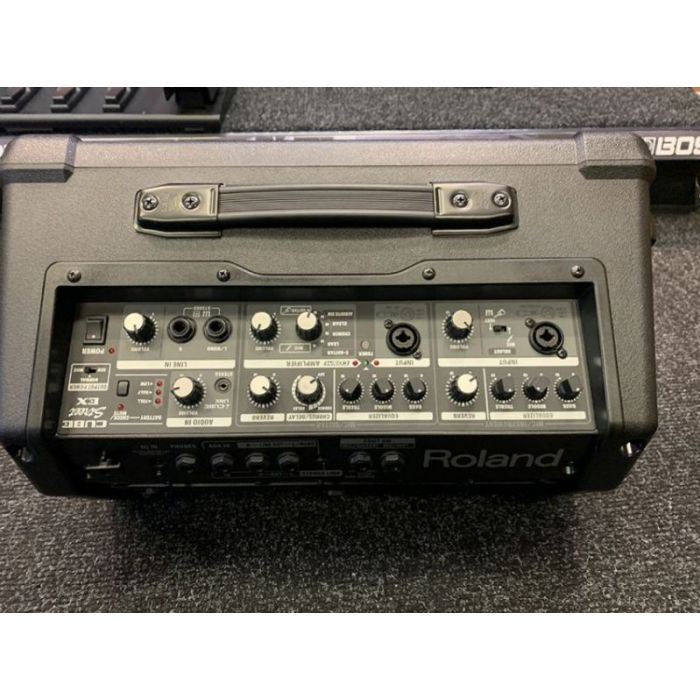 Topdown view of the controls on a B-Stock Roland Cube-Street EX Battery-Powered Stereo Amplifier