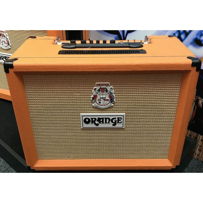 Full frontal view of a B Stock Orange Rocker 32 2x10 Valve Combo Amp