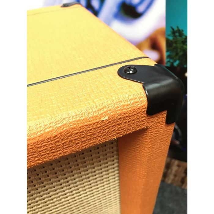 Closeup of the damage on a B Stock Orange Rocker 32 2x10 Valve Combo Amp