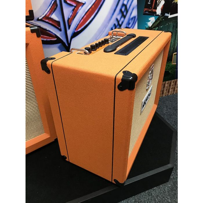 Side-on view of a B Stock Orange Rocker 32 2x10 Valve Combo Amp