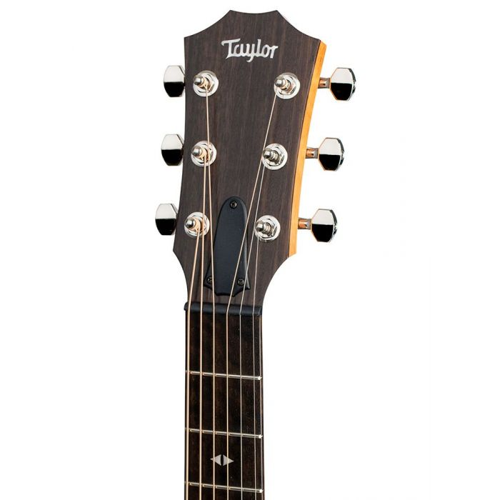 Front view of the headstock on a Taylor GTe Urban Ash Electro Acoustic Guitar