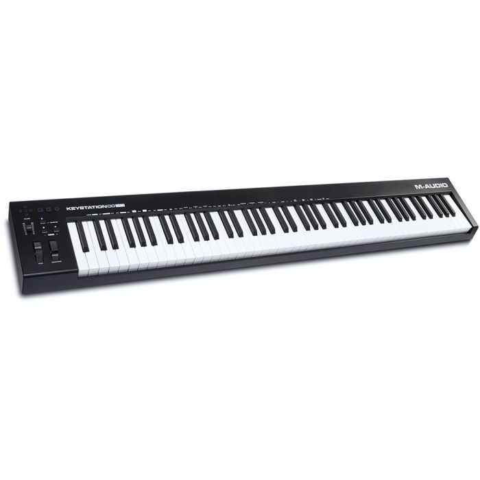 Top-down angled view of an M-Audio Keystation 88 mk3 USB-MIDI Controller