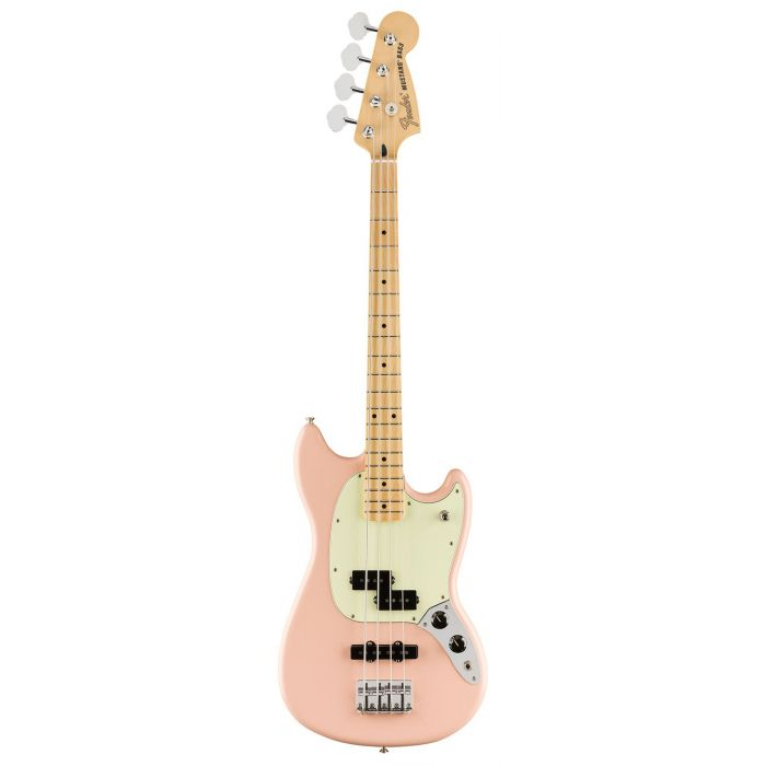 Full frontal view of a Fender Limited Edition Mustang Bass Maple Neck Shell Pink