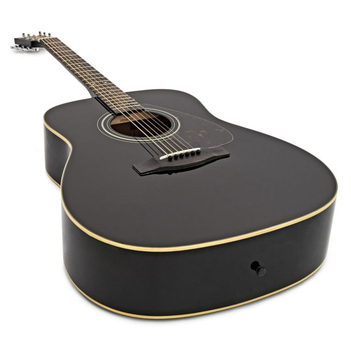 Yamaha F370 Acoustic Guitar Black Body and Neck Detail