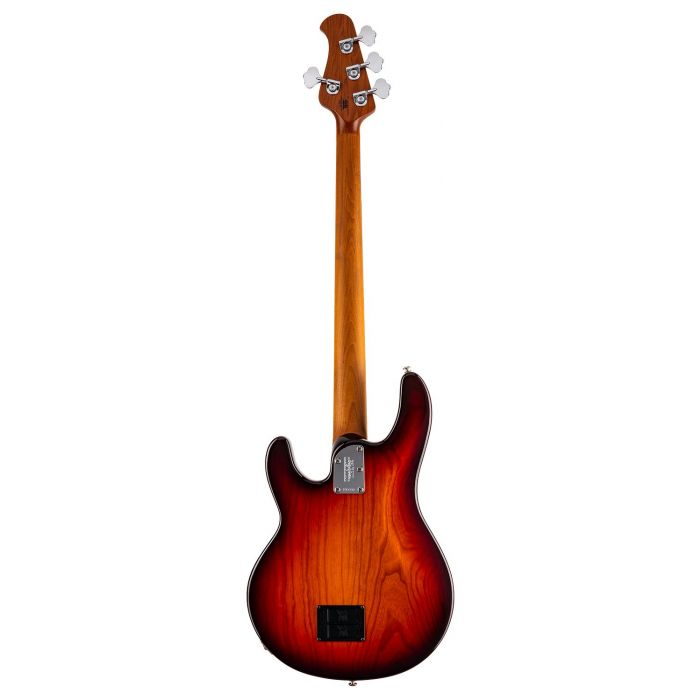 Full rear view of a Music Man Stingray Special Electric Bass in Burnt Amber