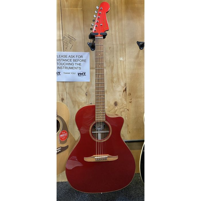 B Stock Fender Newporter Classic Electro Acoustic Red Metallic Full Front