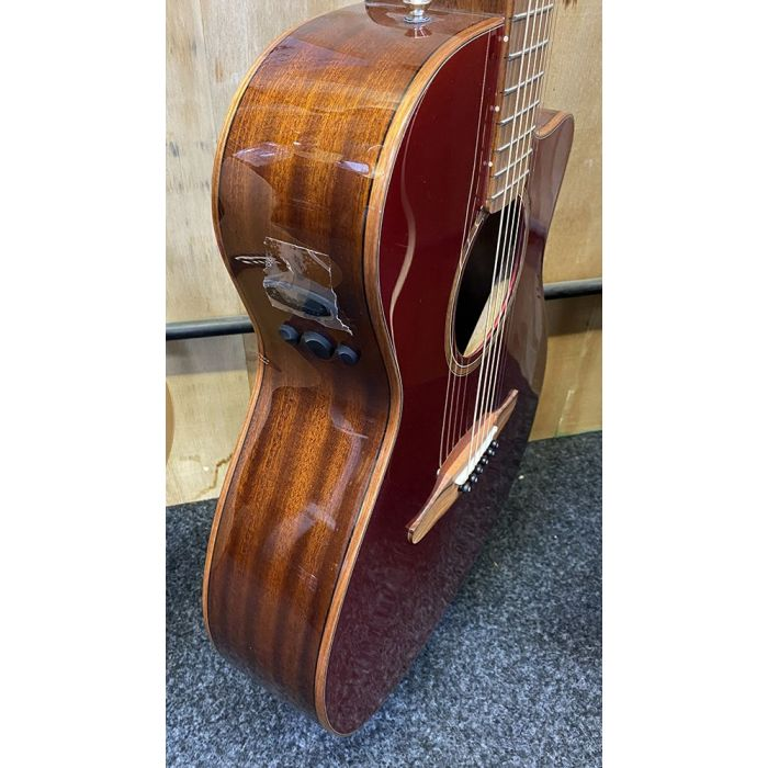 B Stock Fender Newporter Classic Electro Acoustic Red Metallic Side View