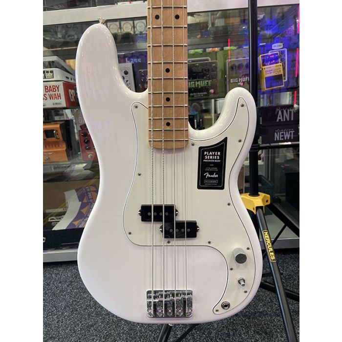 Closeup of the body on a B Stock Fender Player Precision Bass MN, Polar White