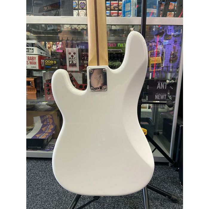 Rear view of the body on a B Stock Fender Player Precision Bass MN, Polar White