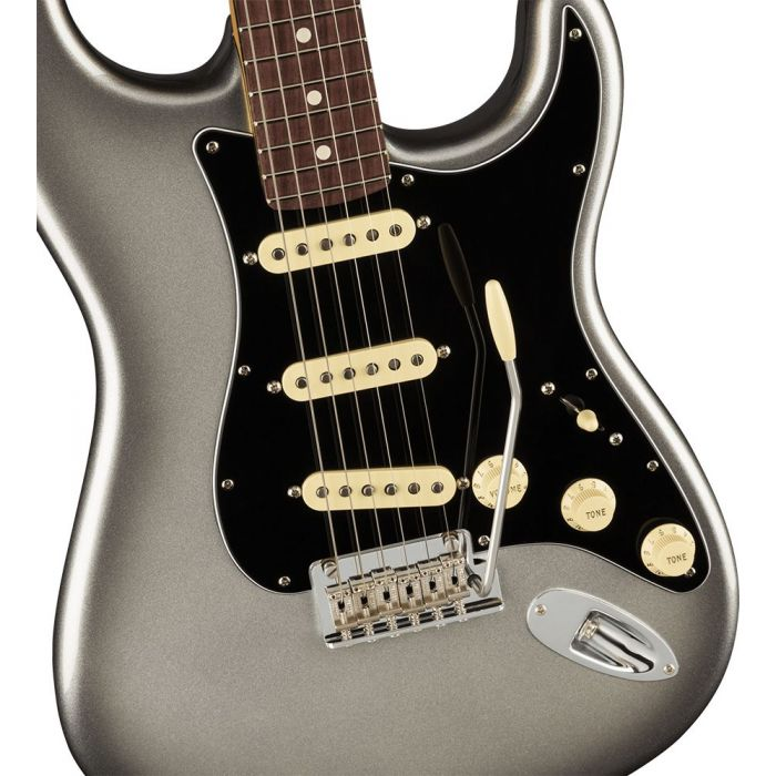 Closeup of the body on a Fender American Professional II Stratocaster RW, Mercury