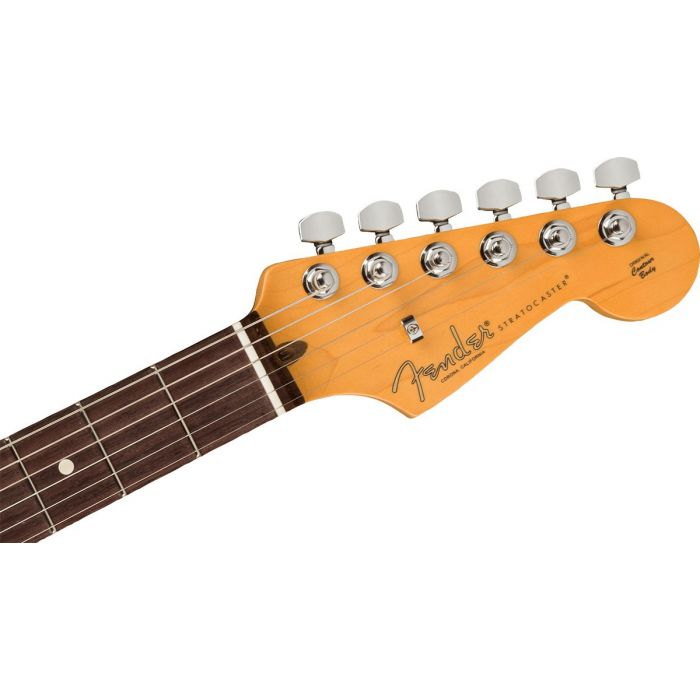Front view of the headstock on a Fender American Professional II Stratocaster RW, Mercury