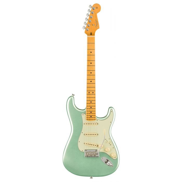 Full frontal view of a Fender American Professional II Stratocaster MN, Mystic Surf Green