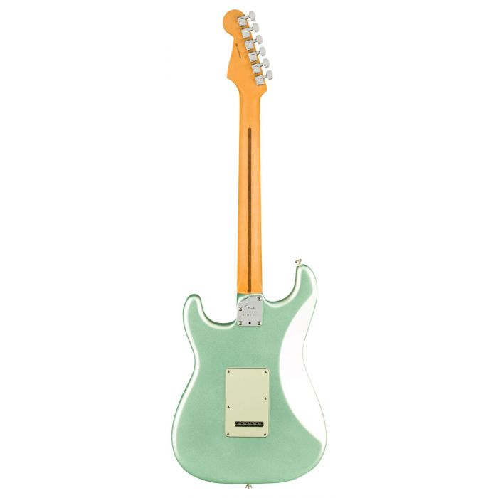 Full rear view of a Fender American Professional II Stratocaster MN, Mystic Surf Green