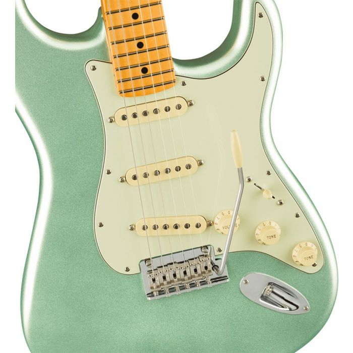 Closeup of the body on a Fender American Professional II Stratocaster MN, Mystic Surf Green
