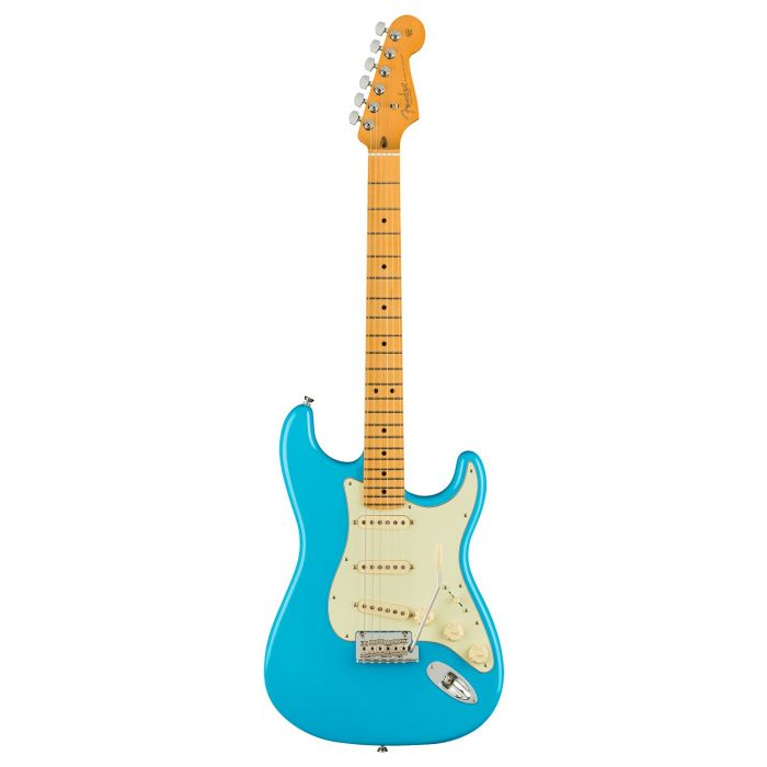 Full frontal view of a Fender American Professional II Stratocaster MN, Miami Blue