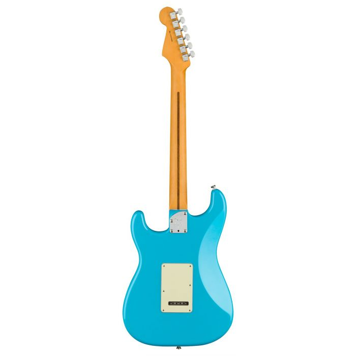 Full rear view of a Fender American Professional II Stratocaster MN, Miami Blue