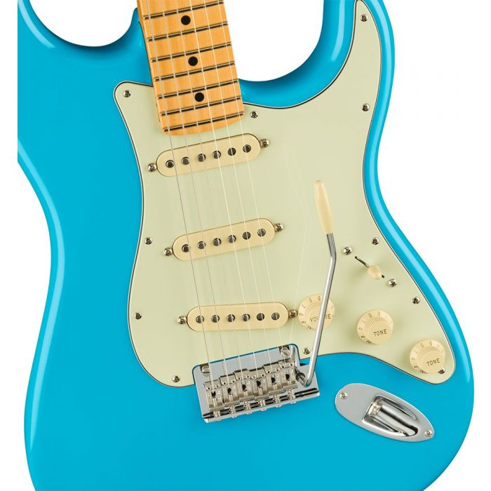 Closeup of the body on a Fender American Professional II Stratocaster MN, Miami Blue