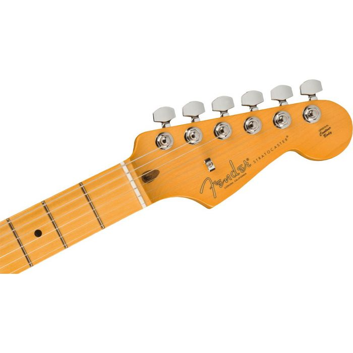 Front view of the headstock on a Fender American Professional II Stratocaster MN, Miami Blue