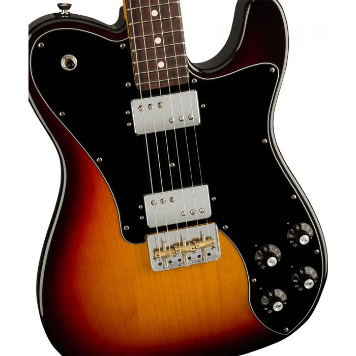 Closeup of the body on a Fender American Professional II Telecaster Deluxe RW, 3-Color Sunburst