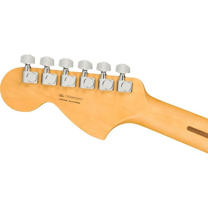 Rear view of the headstock on a Fender American Professional II Telecaster Deluxe RW, 3-Color Sunburst
