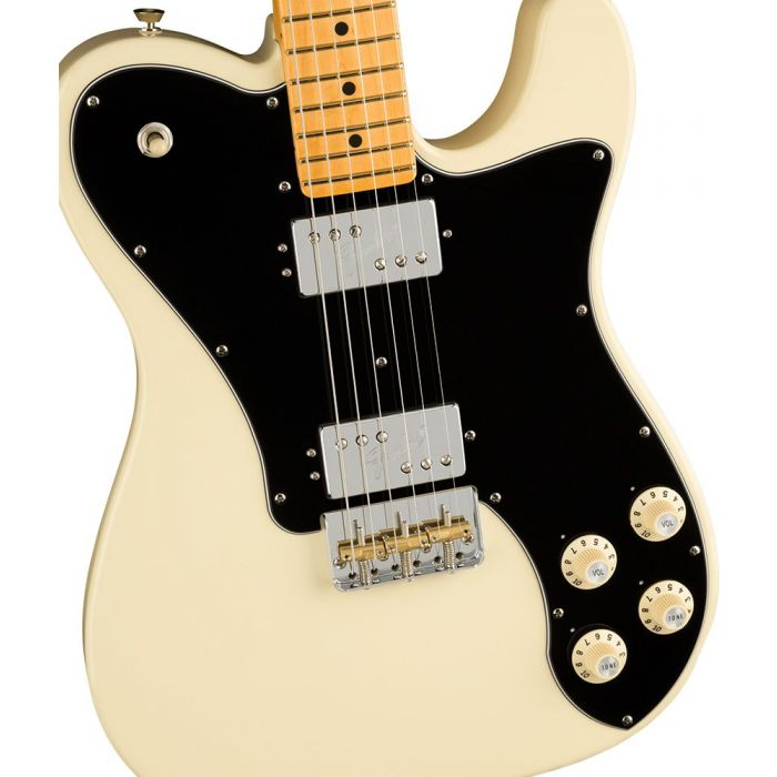 Closeup of the body on a Fender American Professional II Telecaster Deluxe MN, Olympic White