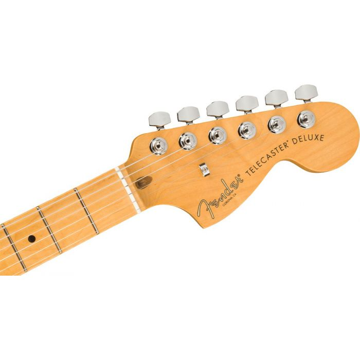 Front view of the headstock on a Fender American Professional II Telecaster Deluxe MN, Olympic White