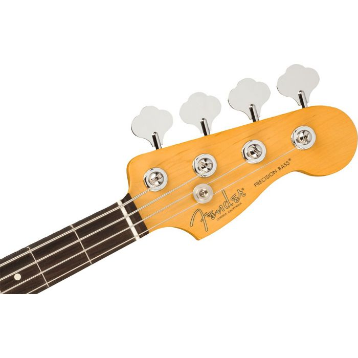 Front view of the headstock on a Fender American Professional II Precision Bass RW, 3-Color Sunburst
