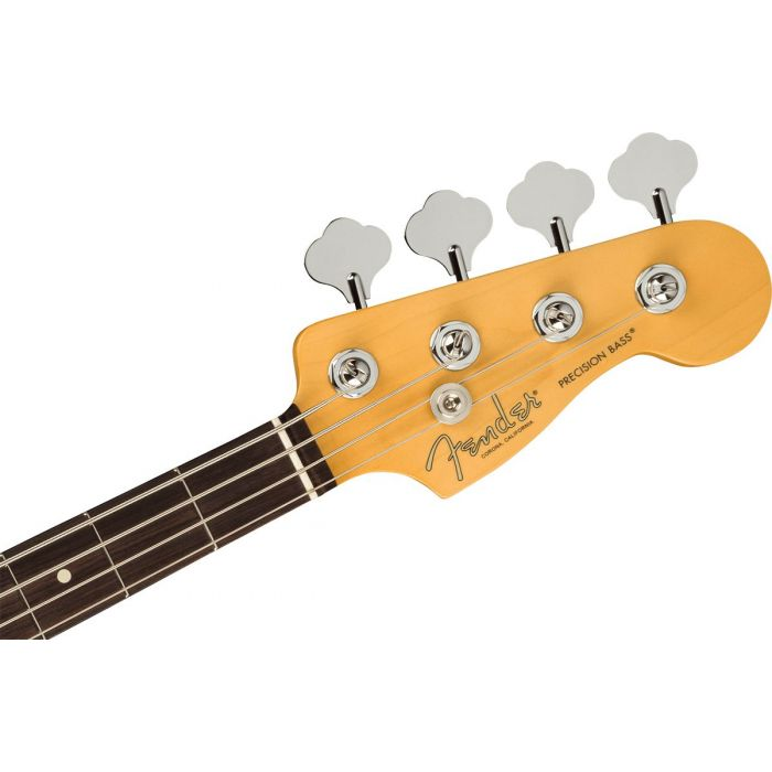 Front view of the headstock on a Fender American Professional II Precision Bass RW, Olympic White