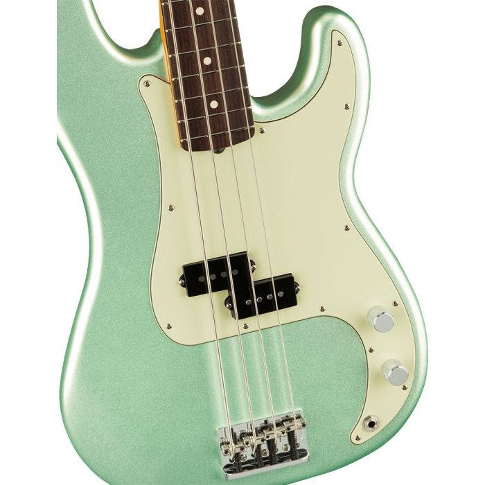 Closeup of the body on a Fender American Professional II Precision Bass RW, Mystic Surf Green