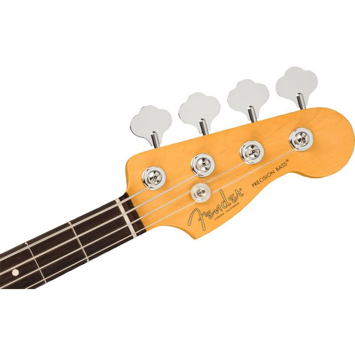 Front view of the headstock on a Fender American Professional II Precision RW, Bass Mercury